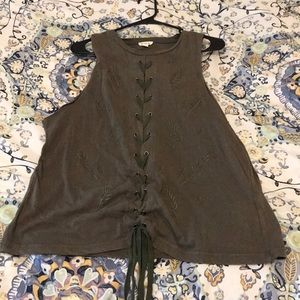 POL Lace Up Hunter Green Embroidered Top Small